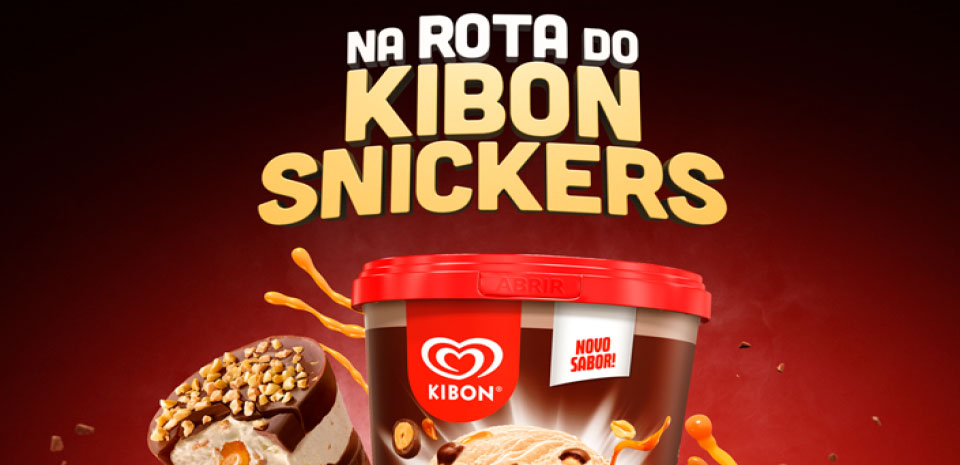 Banner na rota do Kibon Snichers